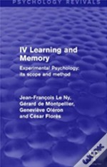 Experimental Psychology Its Scope And Method: Volume Iv
